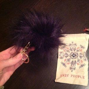 free People navy faux fur pom pom keychain